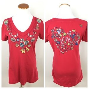 Johnny Was LOVE Embroidered Short Sleeve Red Top